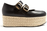 Marni Black leather espadrille flatform sandals