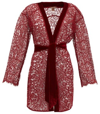 Coco de Mer Eugenia Leavers Lace And Velvet Robe - Womens - Red