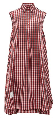 Thom Browne Plaid Sleeveless Cotton Shirt Dress - Red Multi