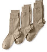 Classic Men's Basic Cotton Pattern Dress Socks (3-pack)-Celestial Blue