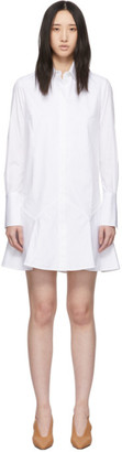 Victoria Victoria Beckham White Flounce Hem Mini Shirt Dress