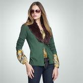 Jones New York Detachable Faux Fur Trim Cardigan