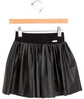 Junior Gaultier Girls' Vegan Leather Pleated Skirt