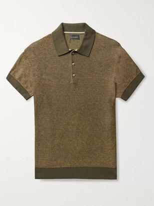 Club Monaco Striped Melange Cotton And Linen-Blend Polo Shirt