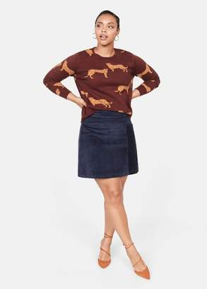 MANGO Violeta BY Leopards print sweater maroon - S - Plus sizes