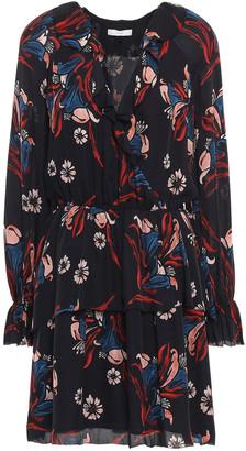 Joie Nour Wrap-effect Floral-print Silk-crepe Mini Dress