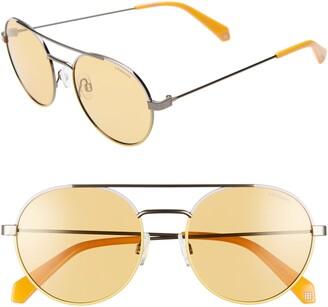 Polaroid Eyewear 55mm Polarized Round Aviator Sunglasses