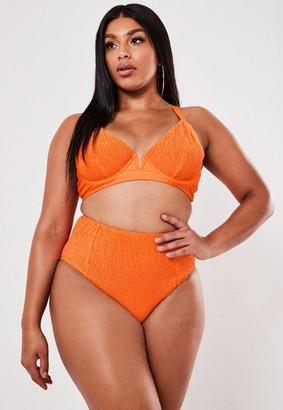 Missguided Plus Size Orange Crinkle High Waisted Bikini Bottom
