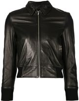 R 13 cropped leather jacket - women - Cotton/Lamb Skin/Viscose - L