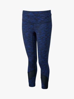 Ronhill Life Spacedye Cropped Running Leggings, Black/Azurite