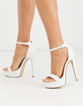 Truffle Collection platform barely there heeled sandals in white