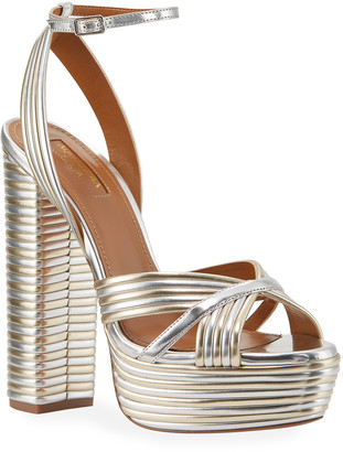 Aquazzura Sundance Plateau Metallic Platform Sandals, Light Gold