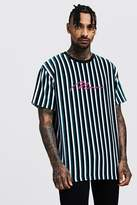 BoohooMAN Loose Fit MAN Signature Velour Stripe T-Shirt
