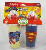Playtex Playtime Insulated Straw Cups, 2 Count DC Super Friends Batman and Superman