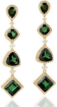 Artisan 18Kt Yellow Gold Green Tourmaline Pave Diamond Drop Dangle Earring