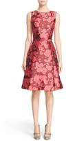 Oscar de la Renta Women's Floral Print Silk Blend Mikado Fit & Flare Dress
