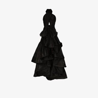 Oscar de la Renta Halterneck Ruffle Silk Gown