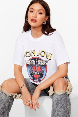 Nasty Gal Womens Bon Jovi Cropped Graphic Band Tee - White
