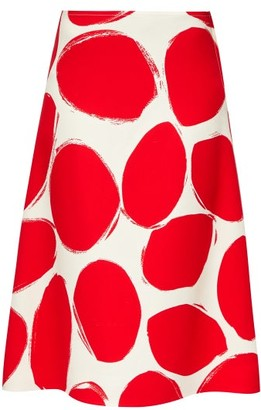 Marni Oval-print A-line Crepe Skirt - Red White