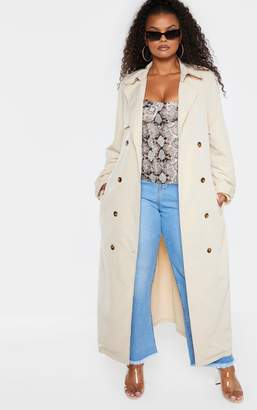 PrettyLittleThing Plus Stone Oversized Button Down Trench Coat
