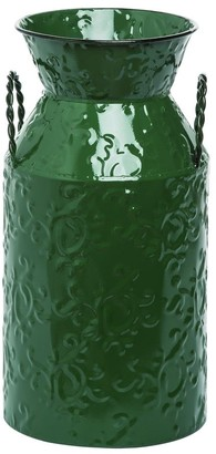 Transpac Metal Small Green Christmas Embossed Container