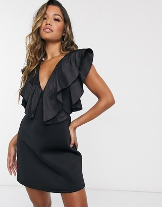 ASOS DESIGN strappy taffeta ruffle neckline mini dress