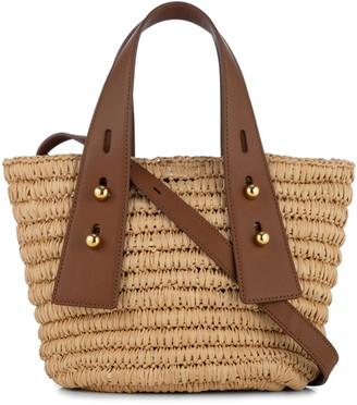 Frame Les Second Mini Raffia & Leather Crossbody Bag