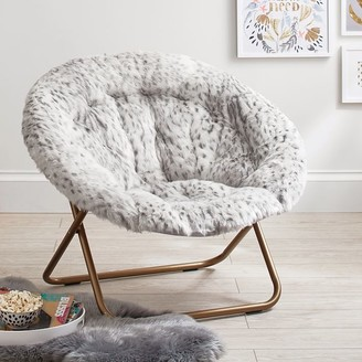 Pottery Barn Teen Gray Leopard Faux-Fur Hang-A-Round Chair