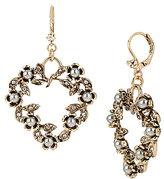 Betsey Johnson Heart & Bead Drop Earrings