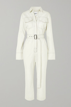 Orseund Iris Workwear Belted Cotton-gabardine Jumpsuit - Cream