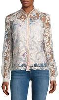 T Tahari Mariah Sheer Floral Embroidered Jacket