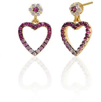 GABIRIELLE JEWELRY 14K Gold Vermeil Cubic Zirconia Cutout Mini Heart Earrings