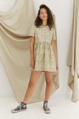 Urban Renewal Vintage Urban Outfitters Archive Khaki Floral Lottie Dress - Green XS at Urban Outfitters
