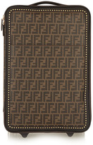 Fendi Printed Faux Textured-leather Travel Trolley - Dark brown