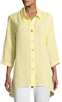 Caroline Rose Chambray Linen Side-Fall Shirt, Plus Size
