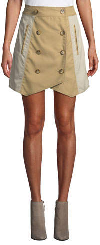 Derek Lam 10 Crosby Double-Breasted Trench Short Skirt