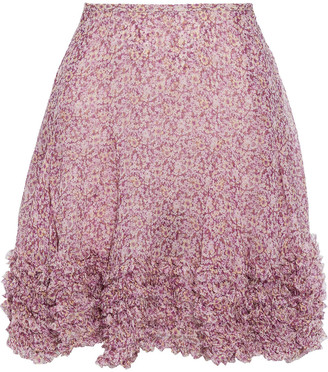 Stella McCartney Ruffle-trimmed Floral-print Silk-georgette Mini Skirt