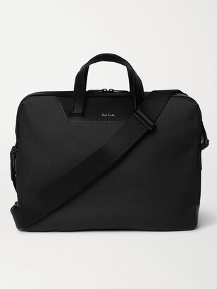 Paul Smith Embroidered Leather-Trimmed Nylon Briefcase - Men - Black