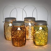 """Gerson 93239 - 5.4"""" Mercury Glass Mason Jar Battery Operated Light with Timer (Set of 4) (93239)"""