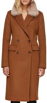 Soia & Kyo Lorenza Crystal Fox Fur Slim-Fit Double-Breasted Coat