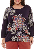 Alfred Dunner Gypsy MoonLong Sleeve Crew Neck Pullover Sweater-Plus
