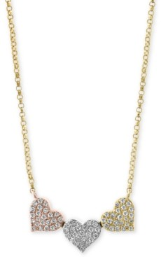 Effy Diamond Pave Triple Heart Pendant Necklace (1/4 ct. t.w.) in 14k Gold, White Gold & Rose Gold