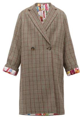 Stella McCartney Double Breasted Prince Of Wales Check Wool Coat - Womens - Grey Multi