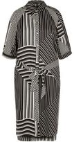 River Island Womens Black stripe print cold shoulder shirt dress