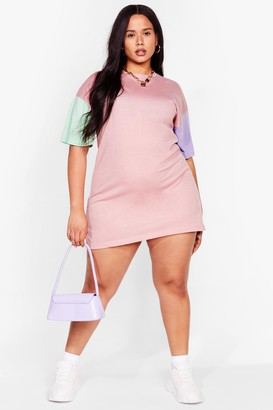 Nasty Gal Womens New Kid on the Colorblock Plus Tee Dress - Pink
