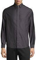 Public School Striped-Sleeve Sport Shirt, Gray