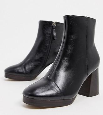 ASOS DESIGN Wide Fit Rhona platform boots in black