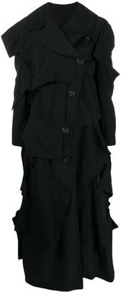 Yohji Yamamoto stitched panel coat