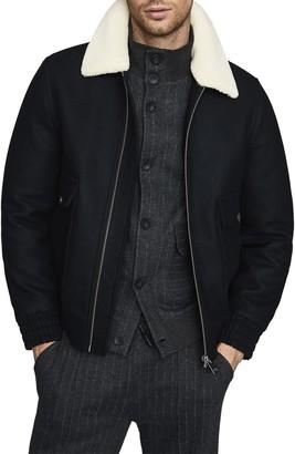 Reiss Harrington Faux Shearling Collar Jacket