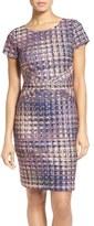 Ellen Tracy Tweed Print Ponte Sheath Dress